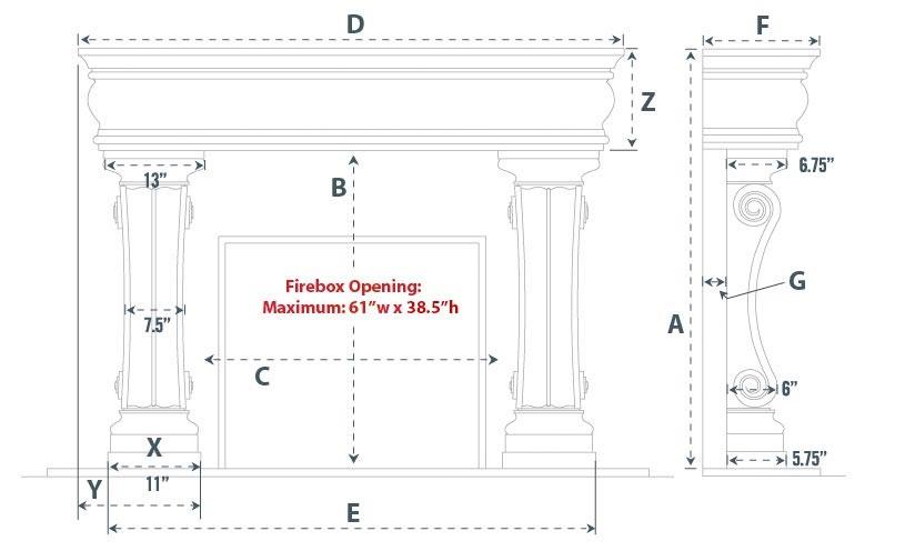 Aberdeen Majestic Series Stone Fireplace Mantel