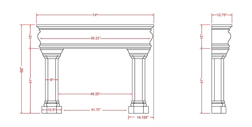 Beaumont Classic Series Stone Fireplace Mantel