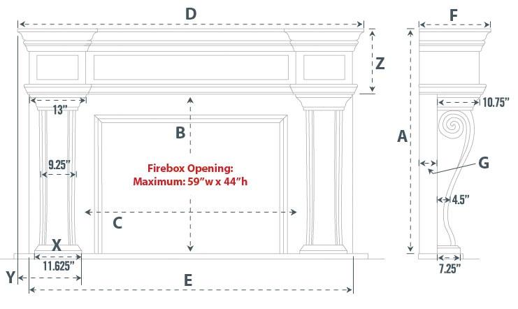 Dartmouth Majestic Series Stone Fireplace Mantel
