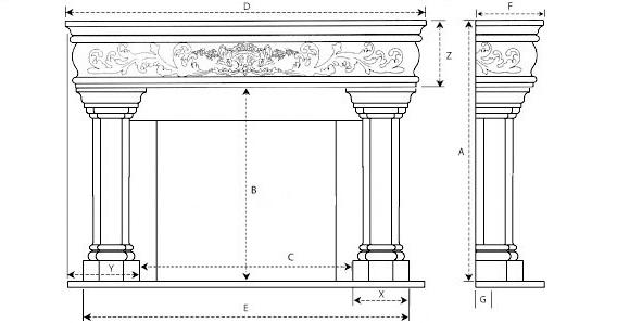 Margaux Majestic Series Stone Fireplace Mantel