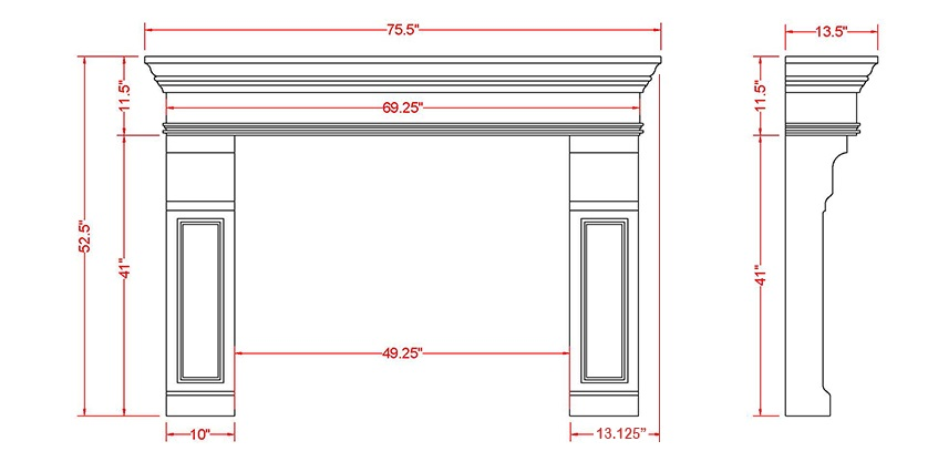 Milford Classic Series Stone Fireplace Mantel