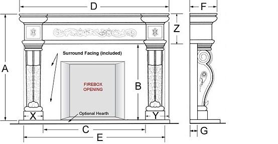 Parisian Majestic Series Stone Fireplace Mantel