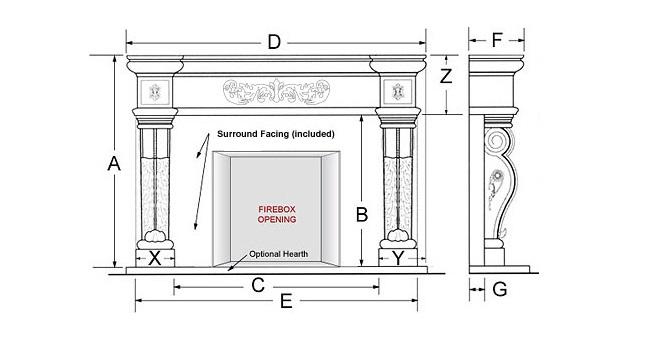 Seville Majestic Series Stone Fireplace Mantel