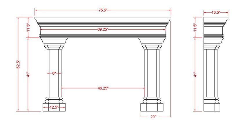 Whitney Classic Series Stone Fireplace Mantel